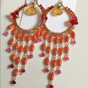 Bright coral chandelier hoops